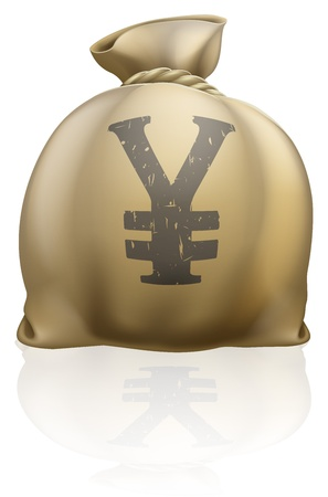 moneybag: Illustration of a big sack with Yen currency sign