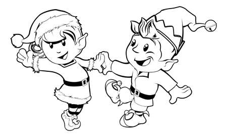 Black and white illustration of boy and girl Christmas elves dancing in Santa outfit and elf clothes Vector