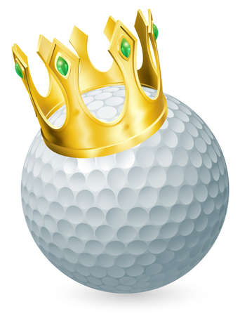 yellow crown: King of golf concept, a golf ball wearing a gold crown