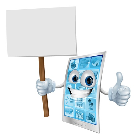 Mobile phone mascot character holding a sign post illustration Vector