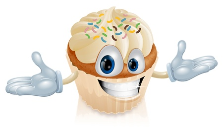 cartoon cake: An illustration of a smiling cup cake mascot