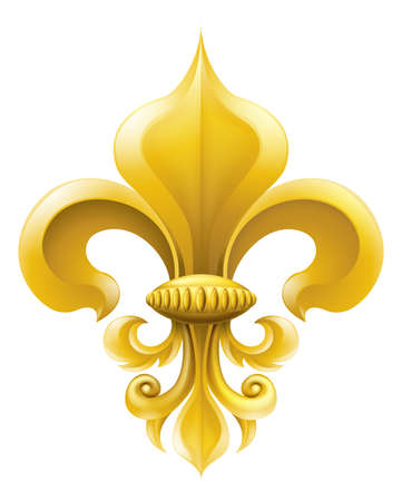 Golden fleur-de-lis decorative design or heraldic symbol.  Vector