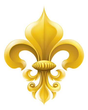 giglio: Oro fleur-de-lis, disegno o un simbolo araldico. Vettoriali