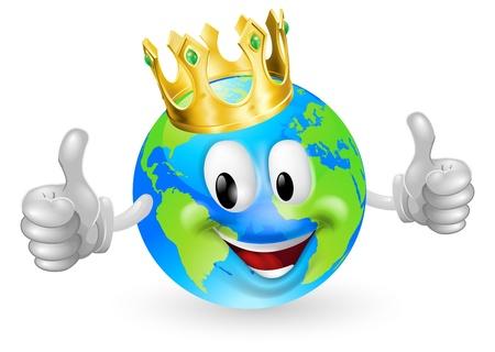 planeta tierra feliz: Ilustración de un rey lindo feliz del mundo el hombre mascota sonriendo y dando un pulgar hacia arriba