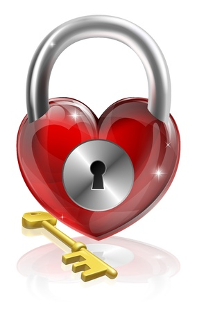 gold keyhole: Key to your heart conceptual illustration. A heart shaped padlock with a brass key.
