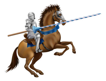 horseback: Drawing of a jousting knight in armour on horse back.