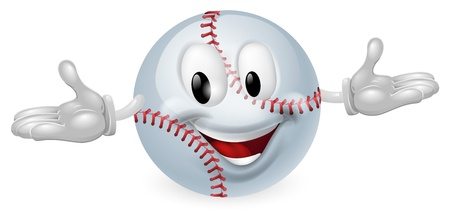Illustration of a cute happy baseball ball mascot man Vector