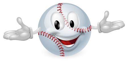 pelota beisbol: Ilustraci�n de un hombre feliz linda mascota de la bola de b�isbol Vectores