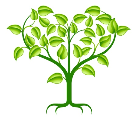 heart shaped leaves: A green abstract tree illustration with branches growing into a heart shape.