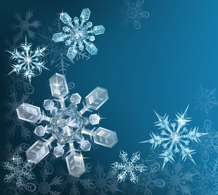transparent background: Lovely blue snowflake Christmas background with translucent snowflakes