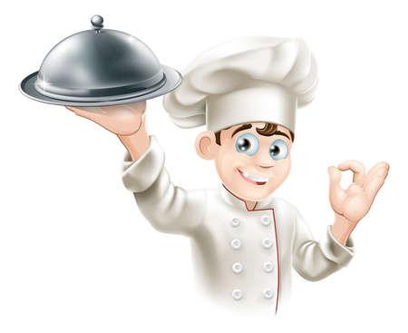 fine cuisine: Cartoon illustrazione di un cuoco ristorante felice in possesso di un piatto di cibo in metallo