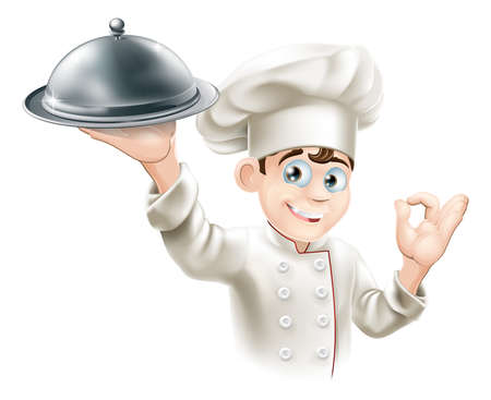 chef caricatura: Ilustración de dibujos animados de un chef del restaurante feliz celebración de una bandeja de metal para alimentos