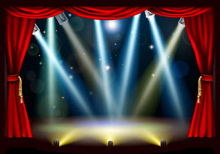curtain theatre: A spotlight theatre stage with coloured spotlights and red stage curtain drapes