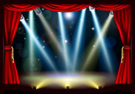 rideau sc�ne: Une �tape projecteur de th��tre avec des spots de couleur rouge et les rideaux rideau de sc�ne Illustration