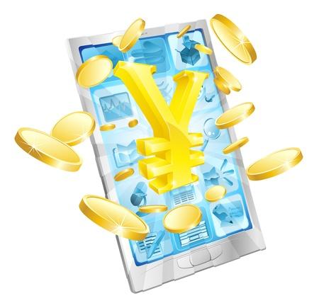 yen sign: Yen el dinero concepto de tel�fono ilustraci�n de tel�fono celular m�vil con el signo del yen y las monedas de oro