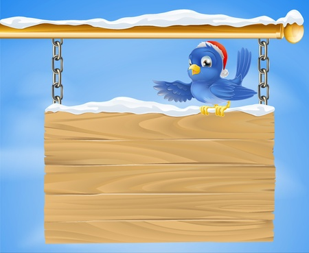 Cartoon happy smiling bluebird wearing a Christmas Santa hat sat on a snowy sign Vector