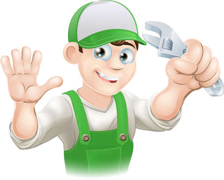 plumbers: Graphic of smiling plumber or mechanic in overalls holding spanner and waving