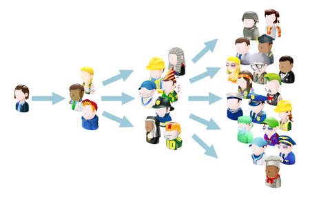 multiplicar: Diseminación de la Ilustración del concepto de las ideas. ¿Podría estar relacionado con los medios de comunicación social o el marketing viral o las ideas virales