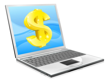 money online: Illustration of laptop computer with dollar coming out of screen. Concept for home working or making money online or coupons, affiliate earning etc.