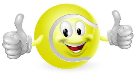 tennis: Illustration d'un homme heureux mascotte mignon de tennis ballon souriant et donnant un coup de pouce