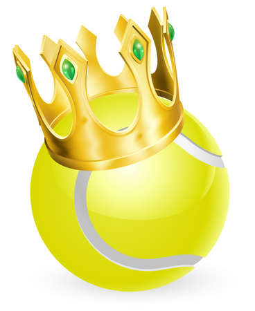 cartoon ball: King of tennis concept, a tennis ball wearing a gold crown Illustration
