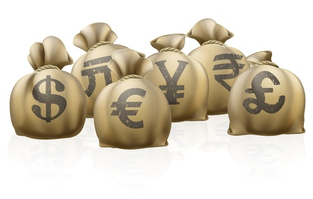 currency symbol: Lots of sacks with different currency signs, foreign currency exchange sacks