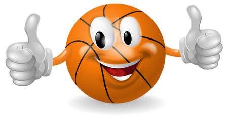 basket: Illustrazione di un simpatico uomo felice mascotte palla da basket sorridente e dando un pollice in alto