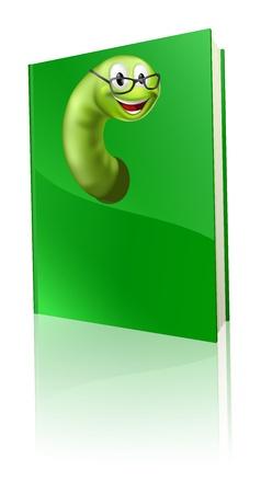 bücherwurm: Eine Karikatur B�cherwurm, die aus einem Buch und l�cheln Illustration