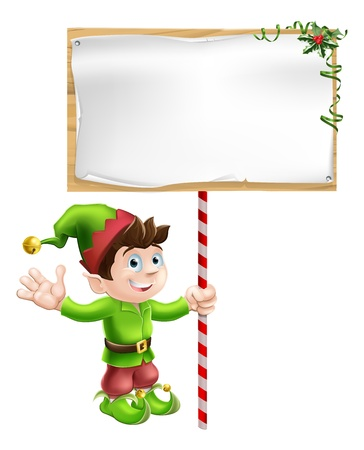 hand holding paper: A Christmas elf or pixie or Santa Illustration