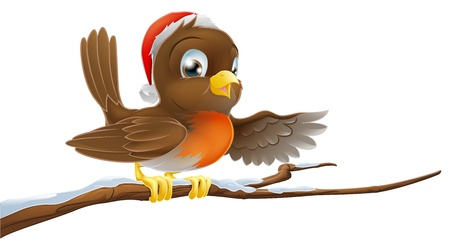 Christmas Robin bird seated on snow covered tree branch with Santa hat on pointing with wing Stock Vector - 14656078