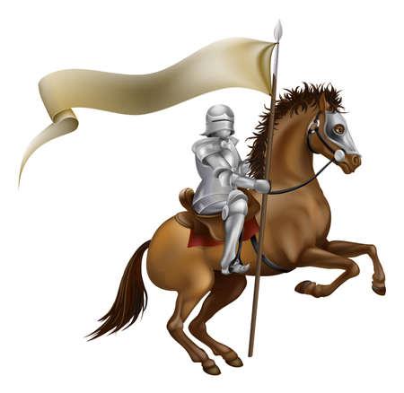 cavaliere medievale: Un cavaliere con lancia e la bandiera montata su un cavallo potente
