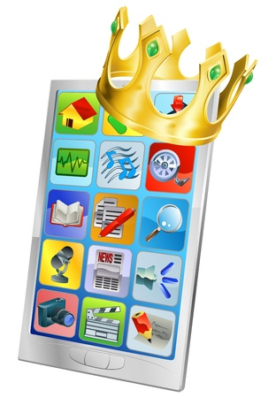 Cell phone king concept, cell phone wearing a gold crown Vector