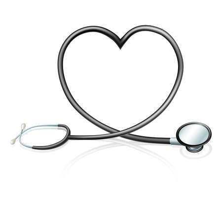 Heart health concept, a stethoscope forming a heart shape  Vector