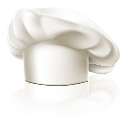 chef kitchen: Illustration of a clean white chef or cook or bakers hat