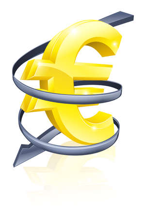 Conceptual finance or economy concept of falling price of the Euro exchange rate or just falling profits Vector