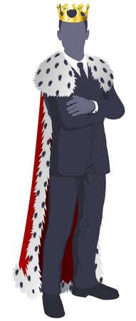 왕: 비즈니스 개념 설명의 왕. 왕이 옷을 입고 사업가. 일러스트
