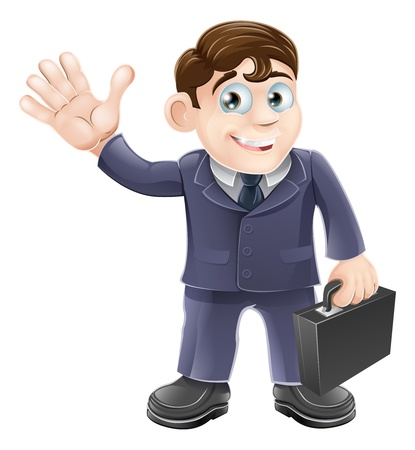 wave hello: Illustration of a happy smiling cartoon business man waving and holding a briefcase