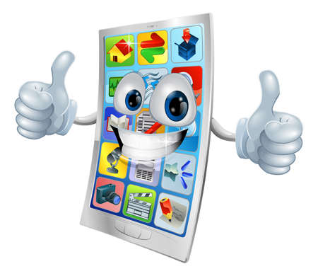 man on cell phone: Very happy mobile phone mascot giving two thumbs up