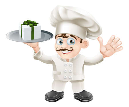 cartoon present: Illustration of a chef with a present on a silver platter