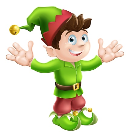 elf hat: Christmas illustration of a cute happy Christmas Elf smiling and waving