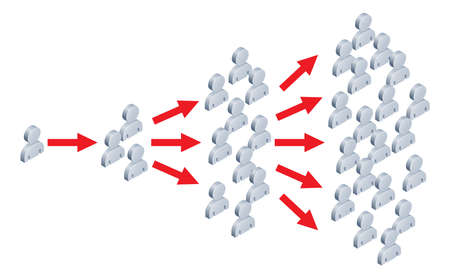multiplicar: Ilustración de algo que se extiende a muchas personas, al igual que una idea va viral en Internet o en el marketing viral. Vectores