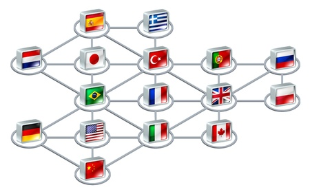 World network concept of connections between different countries or of an international team Stock Vector - 14720000