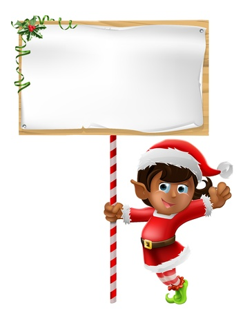 elf: Cartoon woman or girl Christmas elf in Santa Christmas hat holding a sign Illustration