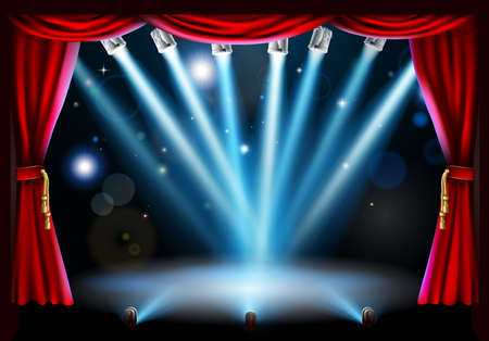 curtain to theater stage: Stage background illustration with blue stage spot lights pointing to the centre of the stage and red curtain frame Illustration