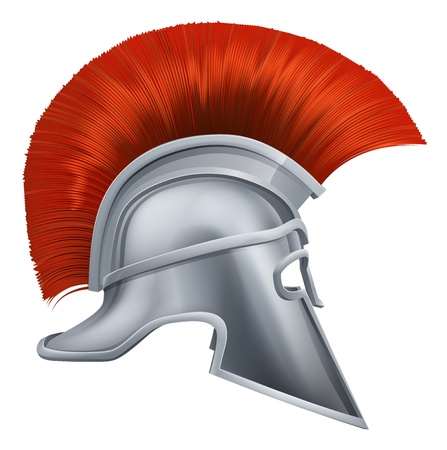 Illustration of side on Spartan helmet or Trojan helmet also called a Corinthian helmet. Versions also used by the Romans. Vector