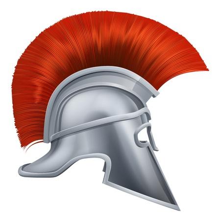 casco rojo: Ilustraci�n de lado en el casco espartano o casco troyano tambi�n llamado un casco corintio. Versiones tambi�n es utilizado por los romanos.