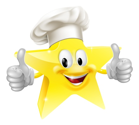 chefs whites: Illustration of a star mascot in a chef or bakers hat, concept for best chef or similar Illustration