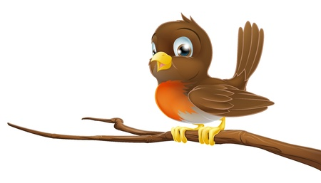 Drawing of a cute Robin sitting on a tree branch Illustration