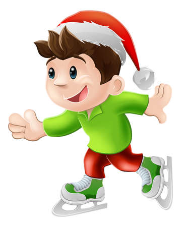 ice: Cartoon illustration of a happy young man or boy having and ice skate in a Christmas Santa hat Illustration