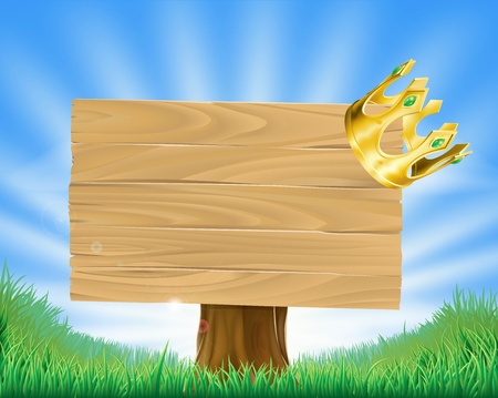 golden field: Wooden sign in green field with a retro golden crown hanging on one corner Illustration